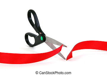 Red Tape - Scissors cutting through red tape