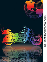 Motorbike 6 - motorcycle with globe and flag in black back...