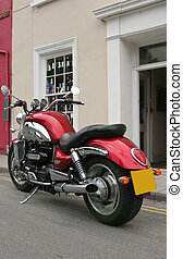 British Motorbike - Rear view of a new British motorbike in...