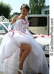 lucky bride demonstrates their own legs