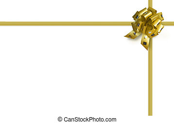 gold bow over white