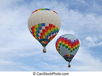 two hot air balloons