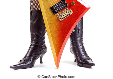 Glitter Rock Guitar - Woman Wearing Leather Boots And A Glam...