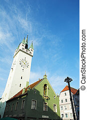 Straubing 6 - The market in front of the Stadtturm in...