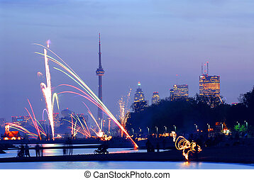 Toronto fireworks - Fireworks display in Toronto view from...