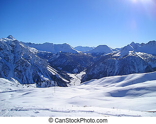 Snowed mountains in the Alps, Briancon, France - Snowed...