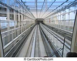 Subway tunnel with motion effect, Tokyo, Japan - Subway...
