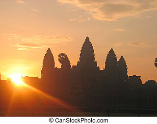 Sunrise on the imperial old khmer city with the sun just...