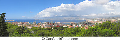 The city and the mediterranean sea, Marseille, South of...