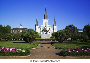 St Louis Cathedral in Jackson Square New Orleans, Louisiana,...