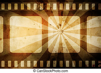 warm vintage film background with dark border and rays -...