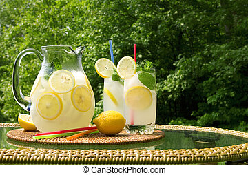 Lemonade - Pitcher and two glasses of fresh lemonade