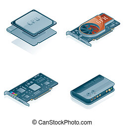 Computer Hardware Icons Set - Design Elements 55j