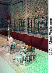 Glasses in the interior of a Middle Eastern restaurant
