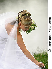 Beautiful bride - Portrait of the beautiful bride with a...