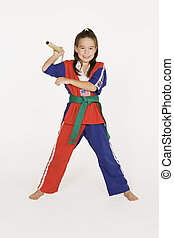Martial Arts - Model Release 287 Seven year old practicing...