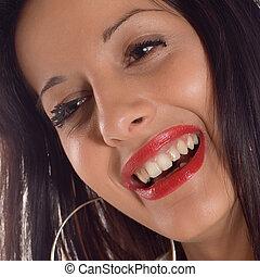 Smile portrait - Portrait a young brunette expressive...