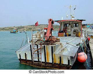 Fishing Trawler - Fishing trawler moored at quay in Malta,...