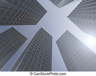 Skyscrapers - computer generated image - Skyscrapers .