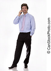 bussiness man - business man looking for a number on his...