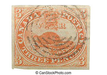 Canadas First Stamp,1851 - Authentic first stamp of Canada,...