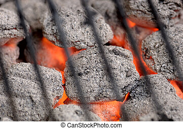 Hot Barbeque Charcoal - Hot barbeque briquets beneath a...
