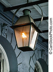 Gaslight - Antique wrought iron gas lanterns in the French...