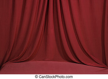 Horozontal Draped Red Velvet Backdrop Background