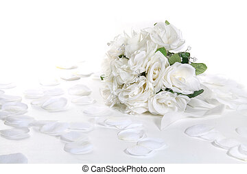 Bridal Bouquet on WHite With Petals