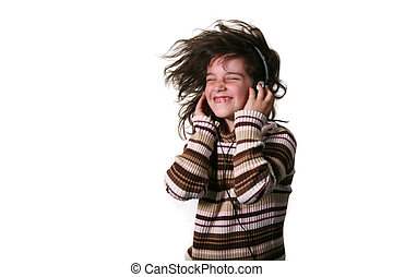 Child Wearing Headphones and Dancing - Young Child Rocking...