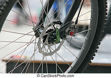 Bike Wheel - Close up of the front wheel of a mountain bike