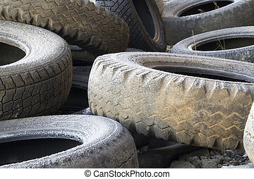 tyres - The used tyre on a dump