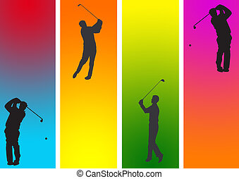 golf  2 - golf with action in graphic style illustration