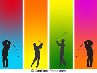 golf  3 - golf with action in graphic style illustration