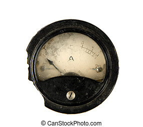 Old ammeter - Close-up of an ancient ammeter, isolated on...
