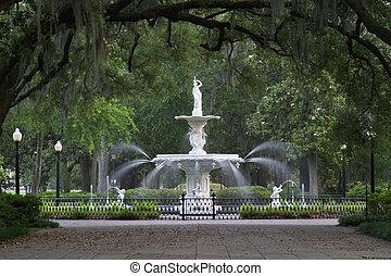 Forsyth Park Fountain in Savannah Georgia.