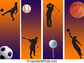 sports 6 - football, golf and basketball baseball with...