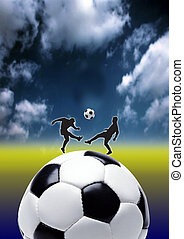 Football 2 - football - kick, focus on ball with drama in...