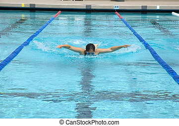 Swimmer during practice