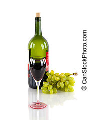 Wine bottle, a glass of red wine, and grapes