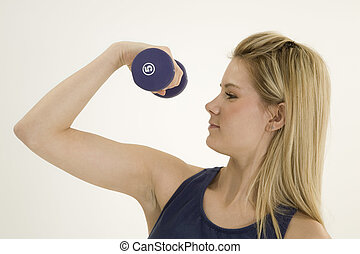 Fitness - Model Release 376 Young caucasian woman working...