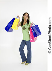 Shopping - Model Release 379 Young African American woman...