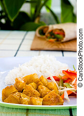 Curried Chicken with Rice and Vegetables - Jamaican Style