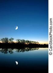 azul, encima, blanco, Pantano, luna