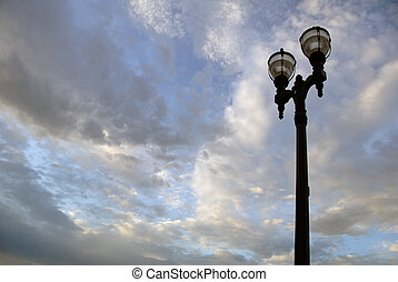 Street Lamp and Sky - Cast Iron Antique Street Lamp Against...