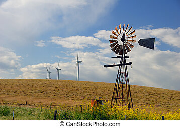 Old Windmills For New - Old Ranch Windmill Contrasted...