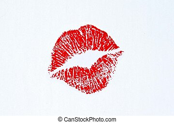 lipstick kiss - image of imprint of a lipstick kiss...