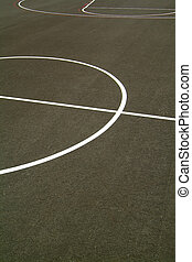 basketball court with tarmac floor...