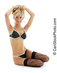 lovely blond in black lingerie 2 - lovely blond in black...