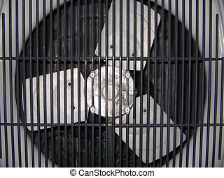 hvac fan - central heat and air unit fan close up